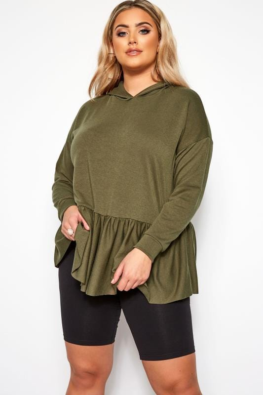 Plus Size Hoodies & Jackets LIMITED COLLECTION Khaki Smock Hoodie