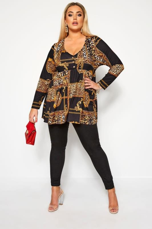 Plus Size Party Tops LIMITED COLLECTION Black Chain & Animal Print Smock Top