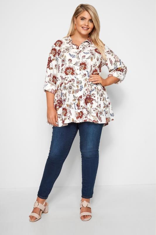 YOURS LONDON White Floral Smock Shirt