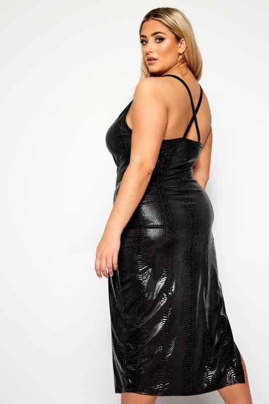 LIMITED COLLECTION Black PU Snake Print Midi Dress