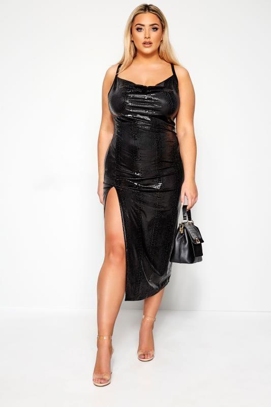Plus Size Evening Dresses LIMITED COLLECTION Black PU Snake Print Midi Dress