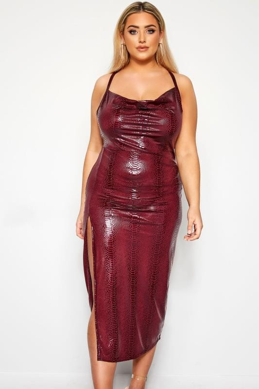 Plus Size Evening Dresses LIMITED COLLECTION Burgundy PU Snake Midi Dress