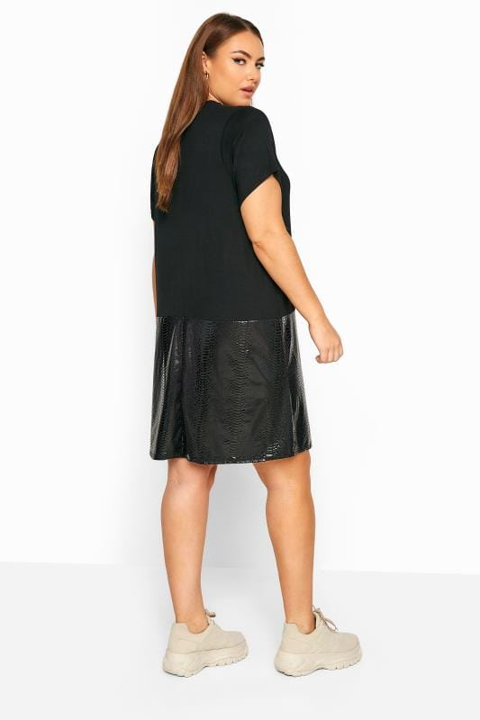 LIMITED COLLECTION Black PU Snake Print Hem T-Shirt Dress