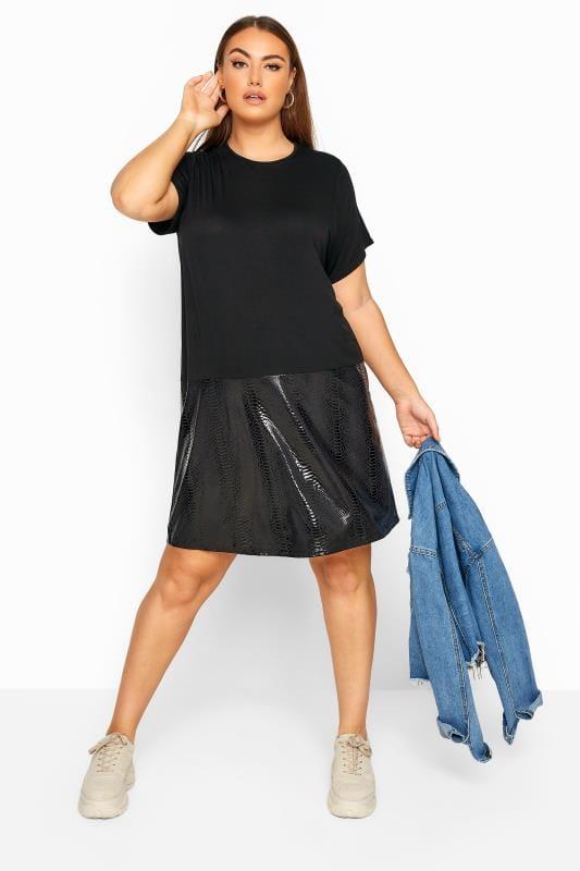 Plus Size Black Dresses LIMITED COLLECTION Black PU Snake Print Hem T-Shirt Dress