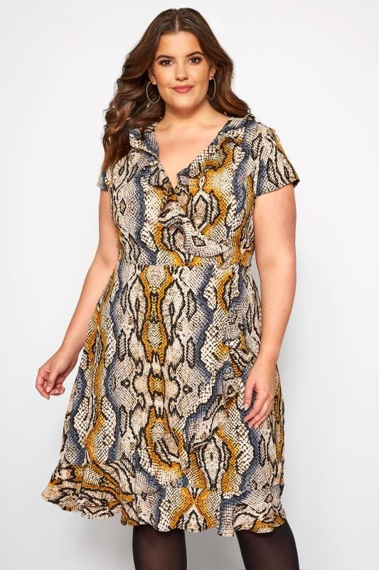 Brown Snake Print Frill Wrap Dress