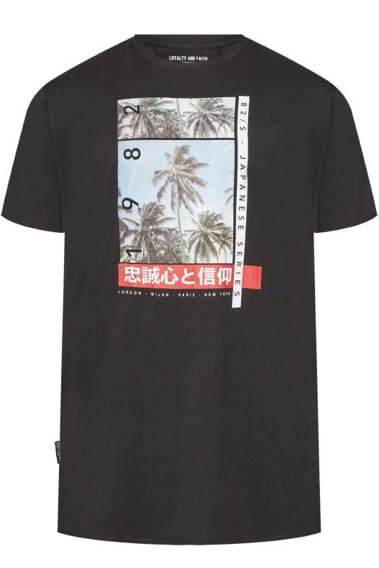 LOYALTY AND FAITH Black Palm Tree Graphic T-Shirt