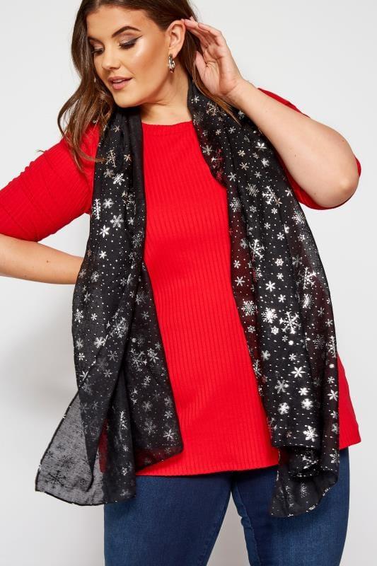 Plus Size Scarves Black Snowflake Print Scarf