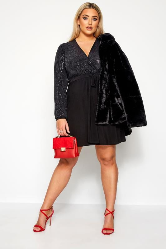 cocktailjurken LIMITED COLLECTION Black & Silver Sequin Dress