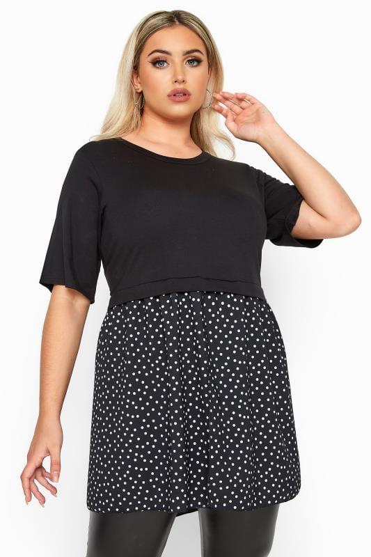 Plus Size Jersey Tops LIMITED COLLECTION Black Polka Dot Hem Smock Top