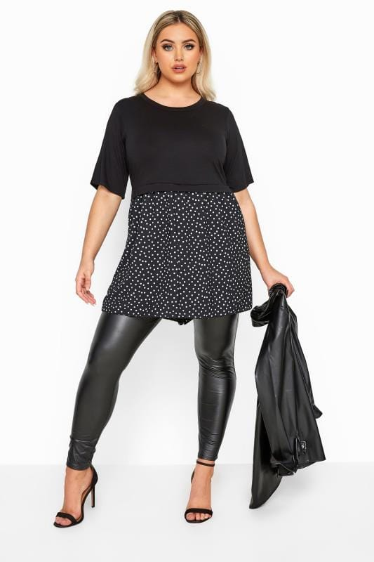 LIMITED COLLECTION Black Polka Dot Hem Smock Top