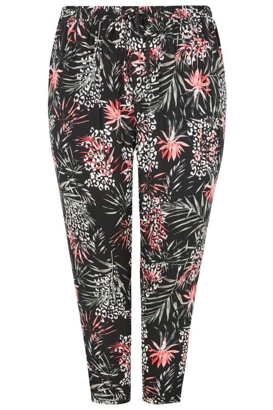Black Woven Palm Print Tapered Trousers