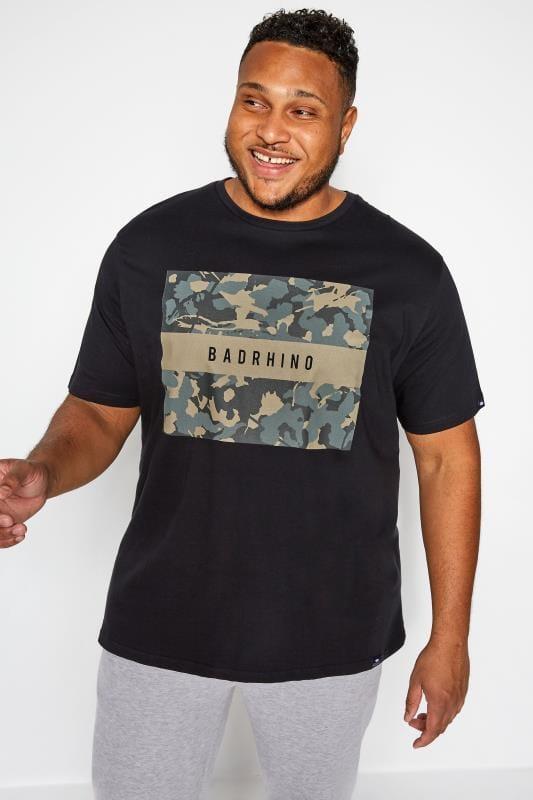 Plus Size T-Shirts BadRhino Black Camo Graphic Print T-Shirt