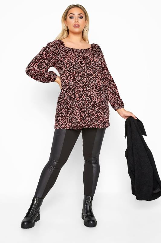 LIMITED COLLECTION Pink Animal Print  Square Neck Top