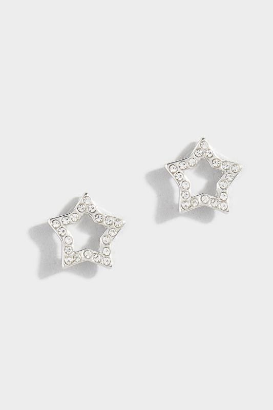 Silver Diamante Star Stud Earrings