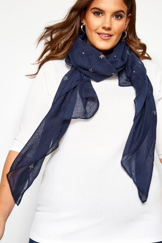 Plus Size Scarves Navy Glitter Star & Spot Scarf