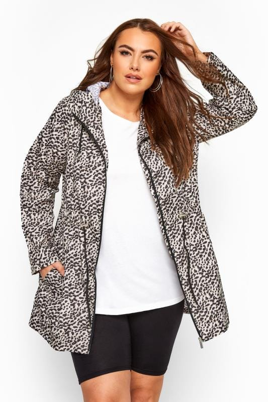 Plus Size Parka Coats Stone Animal Print Pocket Parka Jacket