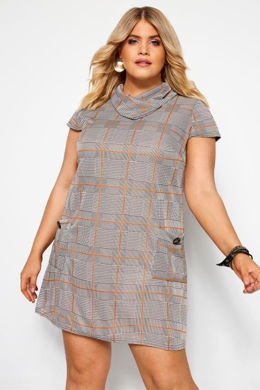 Plus Size Tunics Stone Check Cowl Neck Tunic Dress