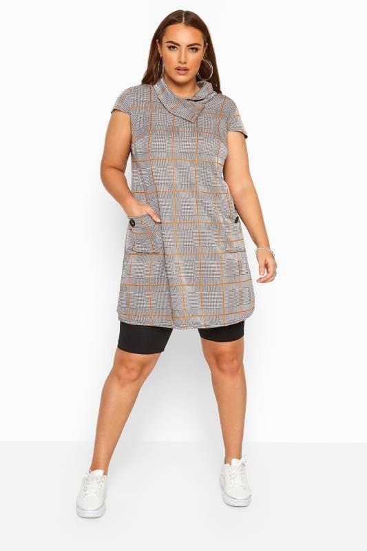 Stone Check Cowl Neck Tunic Dress