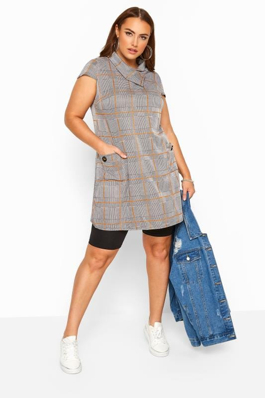 Plus Size Tunics Stone Check Cowl Neck Tunic Dress