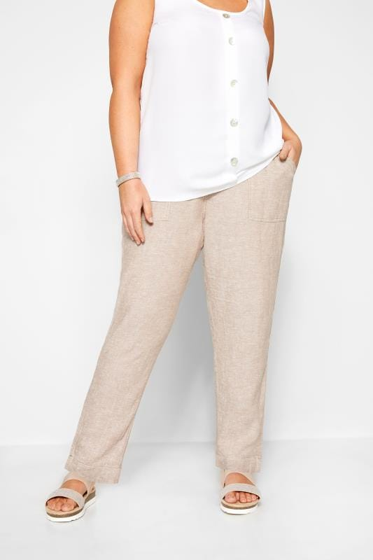 Stone Crosshatch Linen Tapered Trousers