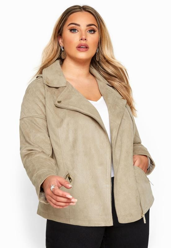 Plus Size Jackets Stone Vegan Suede Biker Jacket
