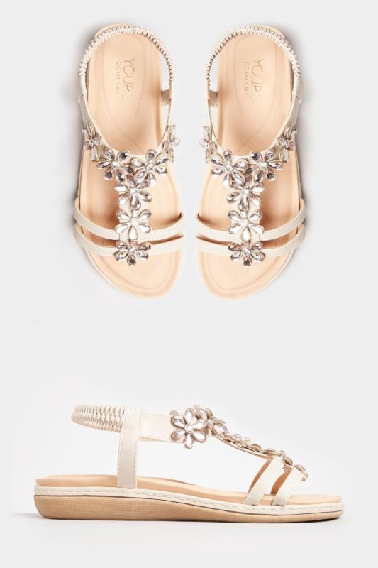 Stone Flower Diamante T-Bar Sandals In Extra Wide Fit