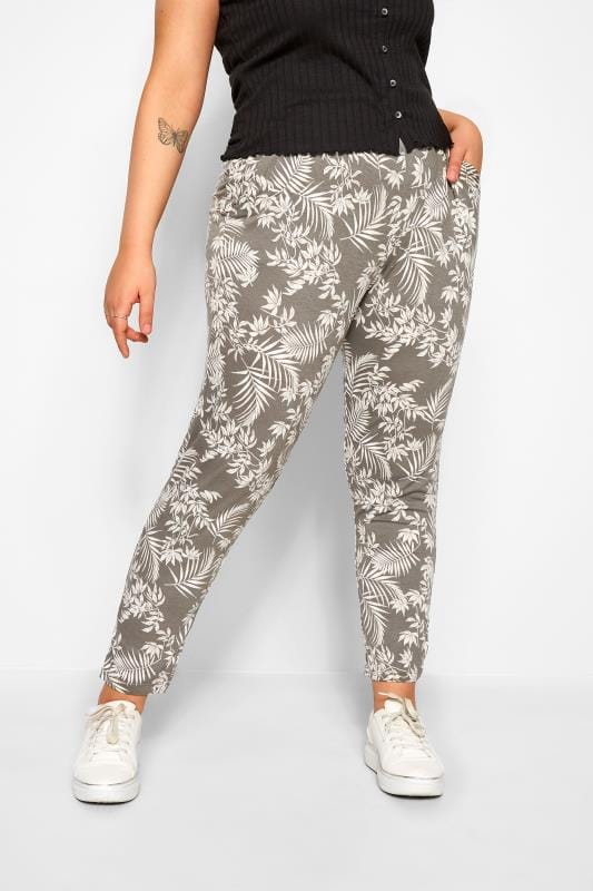 Khaki Leaf Print Double Pleat Harem Trousers