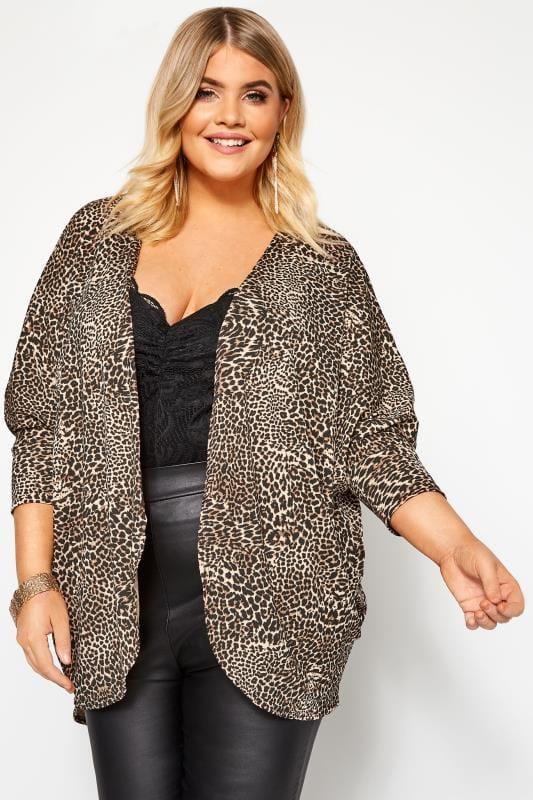 Plus-Größen Cardigans Stone Leopard Print Short Cocoon Cardigan