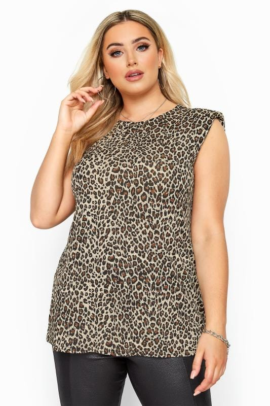 Plus Size Casual / Every Day Stone Leopard Print Shoulder Pad Sleeveless Top