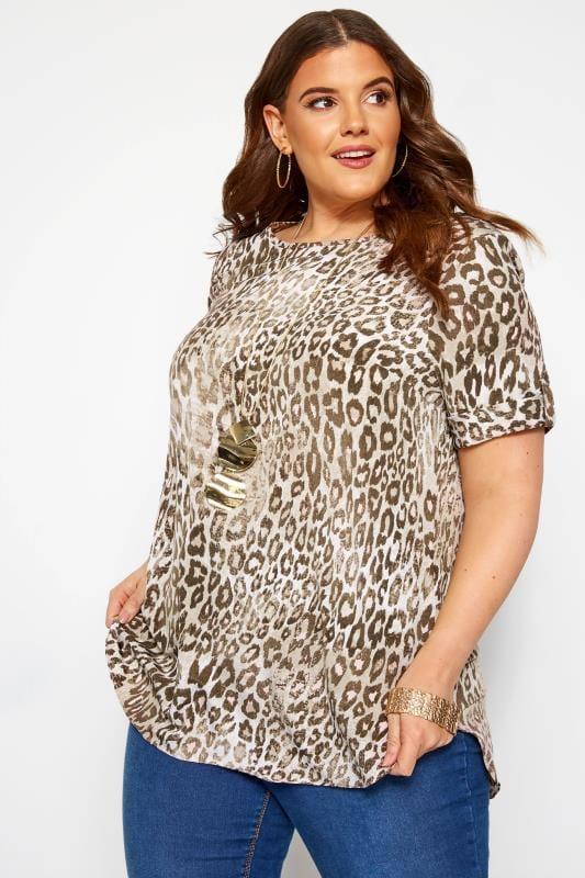 Plus Size Blouses Stone Leopard Print Top