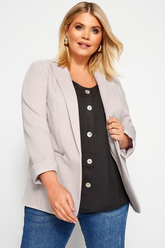 Plus Size Blazers Stone Ribbed Zip Pocket Blazer Jacket