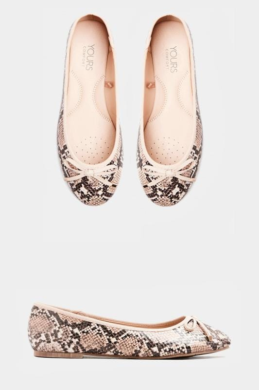 Stone Snake Print Ballerina Pumps In Extra Wide Fit