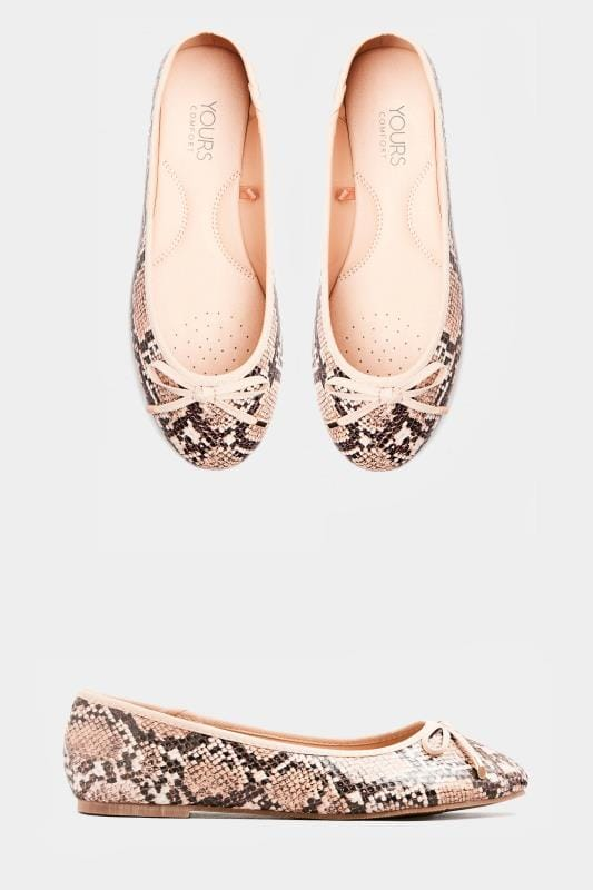 Wide Fit Flat Shoes Stone Snake Print Ballerina Pumps In Extra Wide Fit
