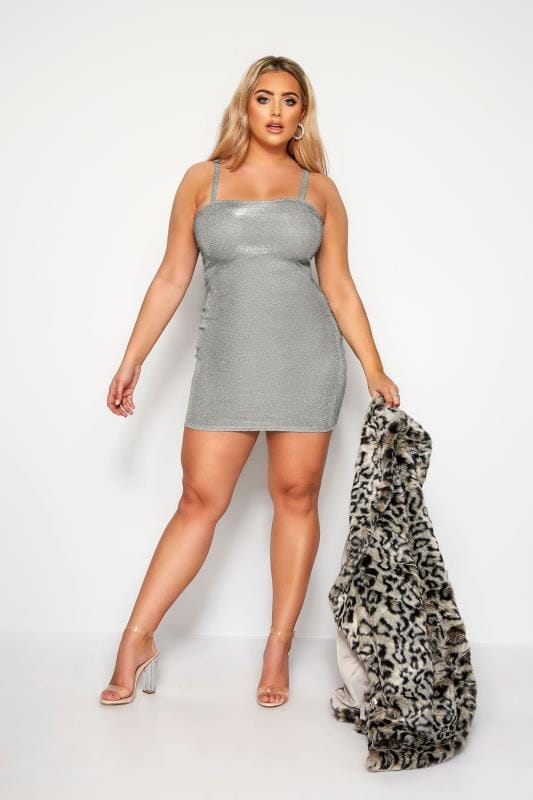 LIMITED COLLECTION Silver Glitter Strappy Dress