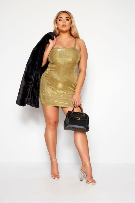 Plus Size Going Out Dresses LIMITED COLLECTION Gold Glitter Strappy Dress