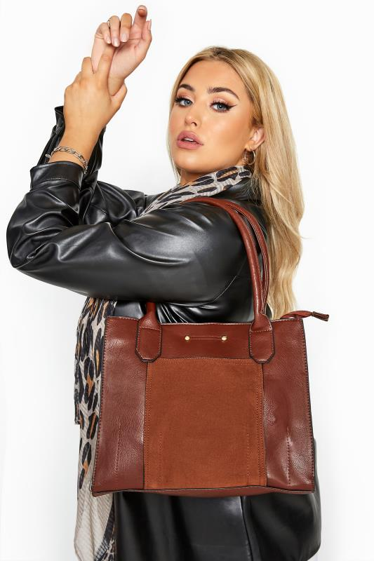 Bracelets Brown Faux Suede Panel Shoulder Bag
