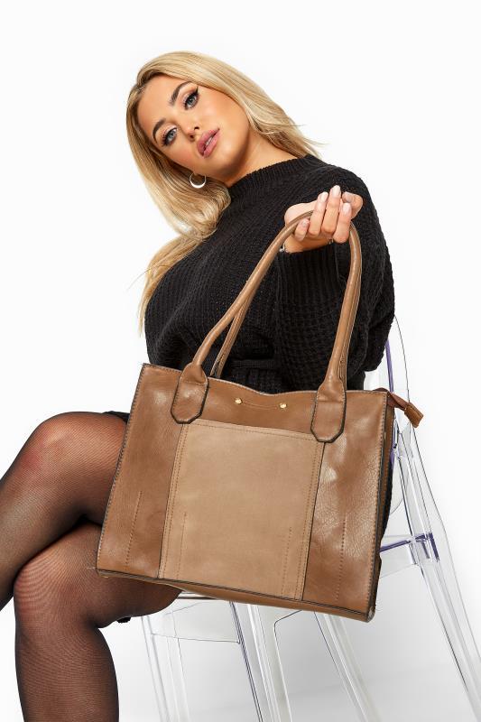 Light Brown Faux Vegan Suede Panel Shoulder Bag