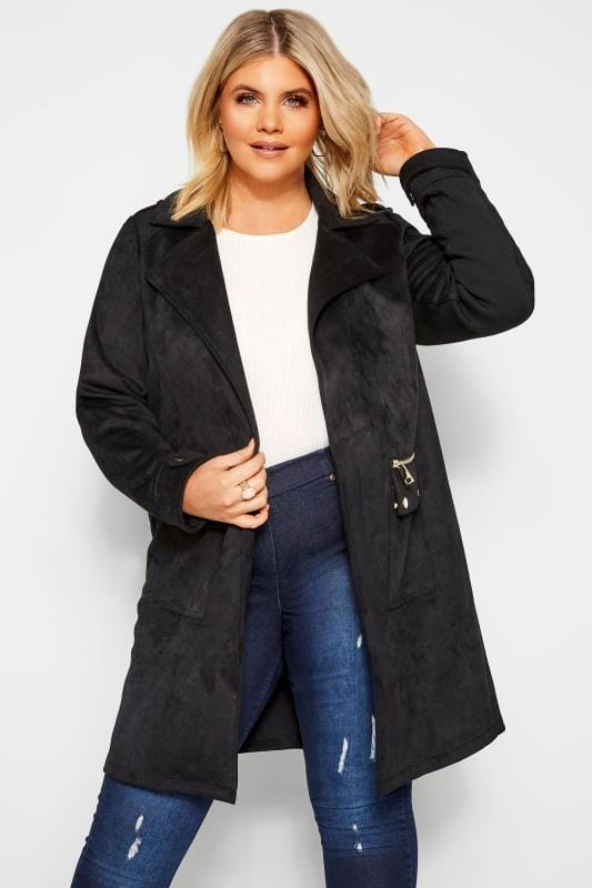 Plus Size Jackets Black Faux Suede Duster Jacket