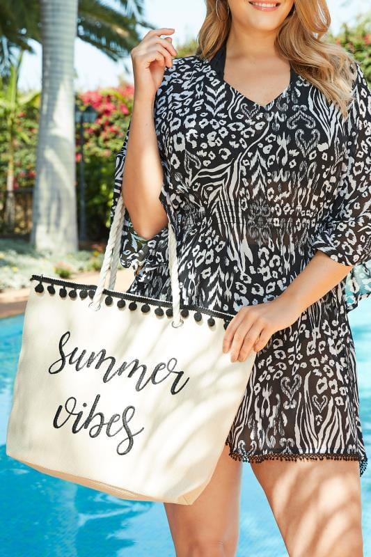 Summer Vibes Raffia Beach Bag