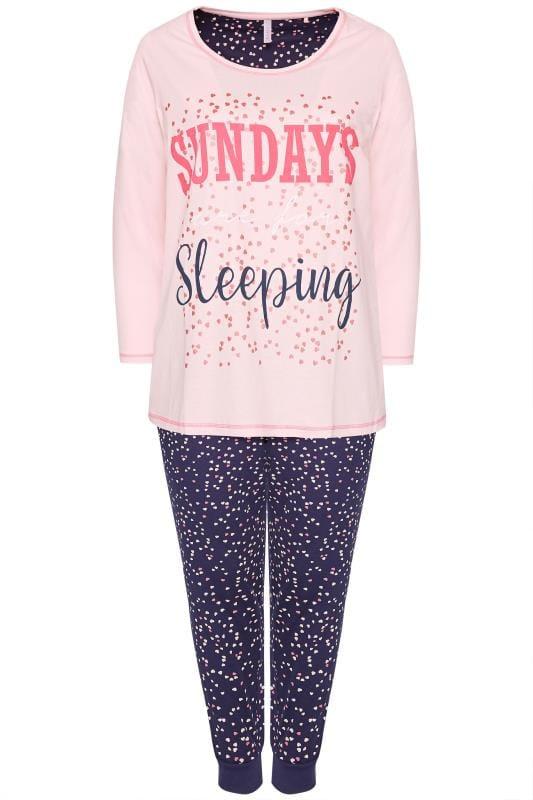 Pink & Navy Slogan Pyjama Set