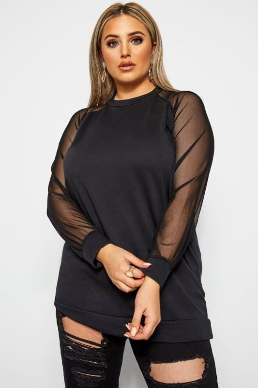 Plus Size Sweatshirts LIMITED COLLECTION Black Mesh Sleeve Sweatshirt