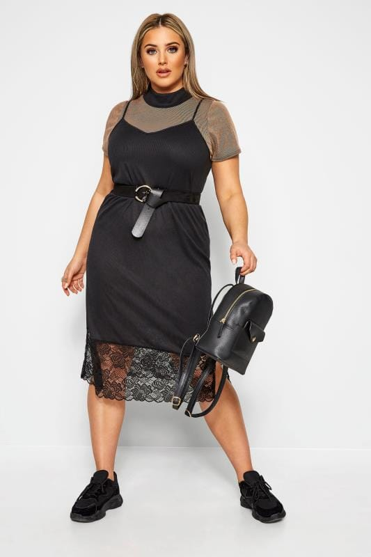 Plus Size Black Dresses LIMITED COLLECTION 2 in 1 Black Ribbed Top & Lace Midi Dress