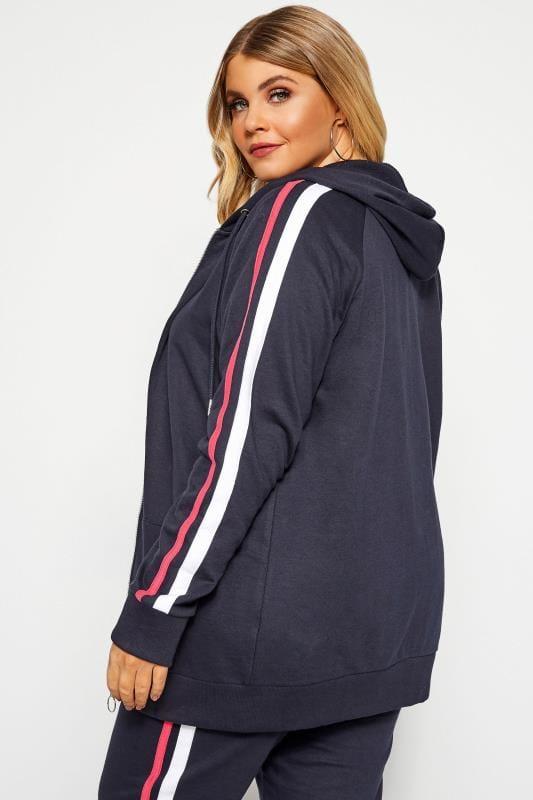 Plus Size Hoodies & Jackets Navy Side Stripe Hoodie