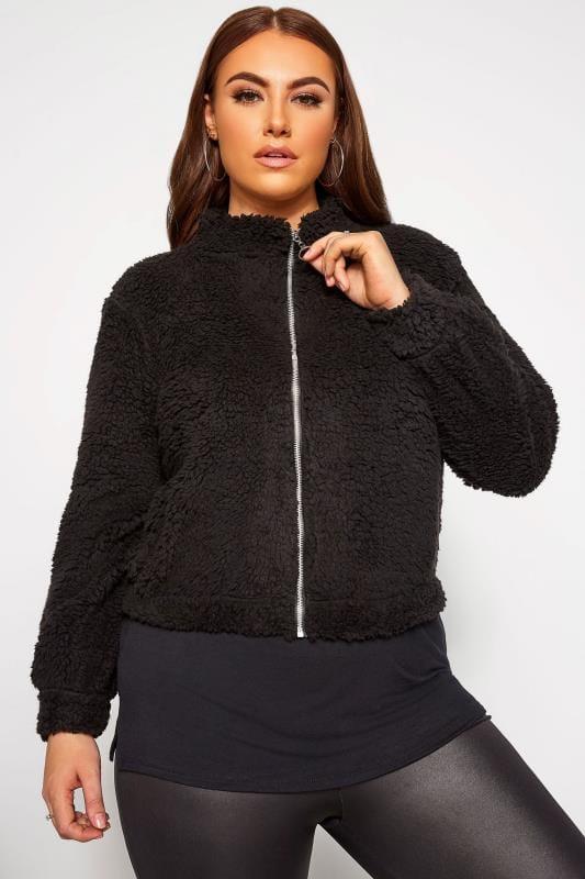 Plus Size Fleeces LIMITED COLLECTION Black Teddy Fleece