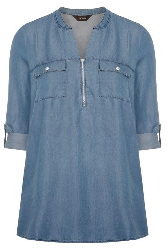 Blue Denim Zip Neck Shirt