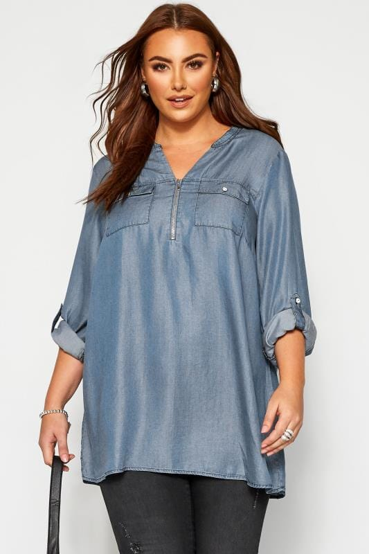 Plus Size Day Tops Blue Denim Zip Neck Shirt