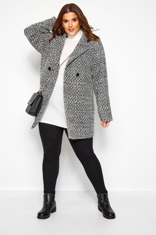 Plus Size Coats Black Textured Check Coat