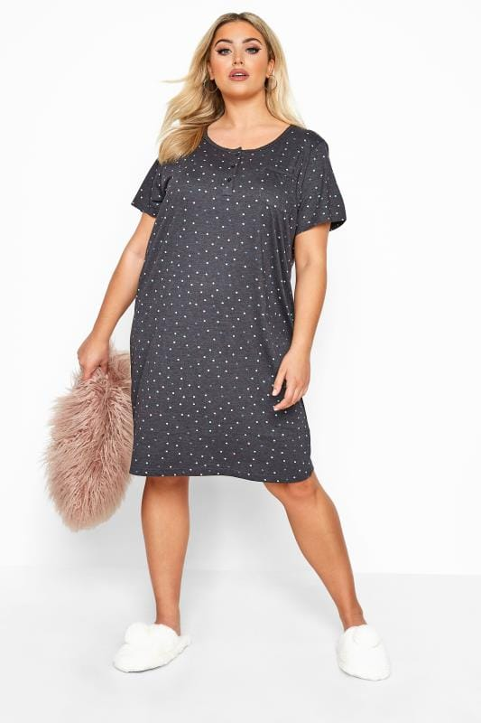 Nightdresses & Chemises  Charcoal Grey Spot Pocket Placket Nightdress