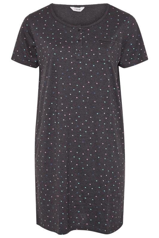 Charcoal Grey Spot Pocket Placket Nightdress