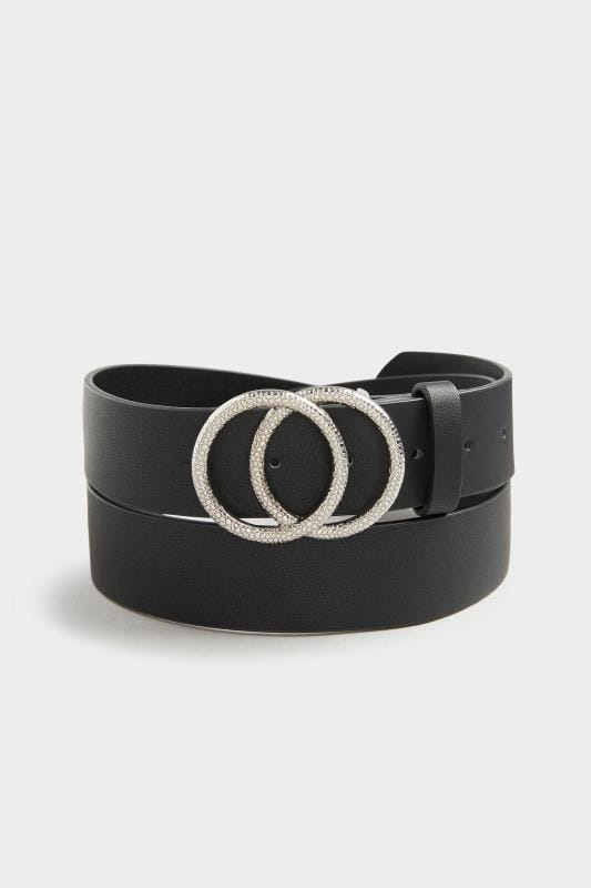 Yours Black Textured Double Circle Belt